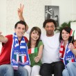 Italian football supporters at home - Stock Photo