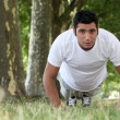 Muscular man doing push-ups in a park — Stock Photo #8343434