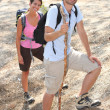 Happy hikers — Stock Photo