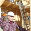 Foreman in house under construction — Stockfoto