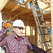 Stock Photo: Foreman in house under construction