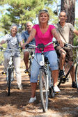 Due coppie di mezza età cavalcando biciclette — Foto Stock
