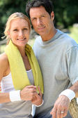 Portrait of tennis couple — Stock Photo