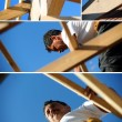 Collage of a carpenter at work — Stock Photo #8379562