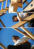 Collage of a carpenter at work — Stock Photo