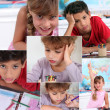 Collage of children in classroom — Stock Photo #8380819