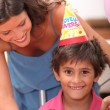 Young boy celebrating his birthday — Stock Photo