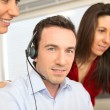Stock Photo: Mtraining with telephone headset