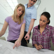 Architects looking at blue-prints - Stock Photo