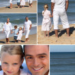 Collage of family at the ocean — Stock Photo