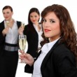 Businesswomen drinking champagne — Stock Photo