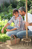 Smiling lovers doing gardening — Stock Photo