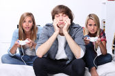 Teens and video games — Stock Photo