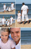 Collage of family at the ocean — Stok fotoğraf