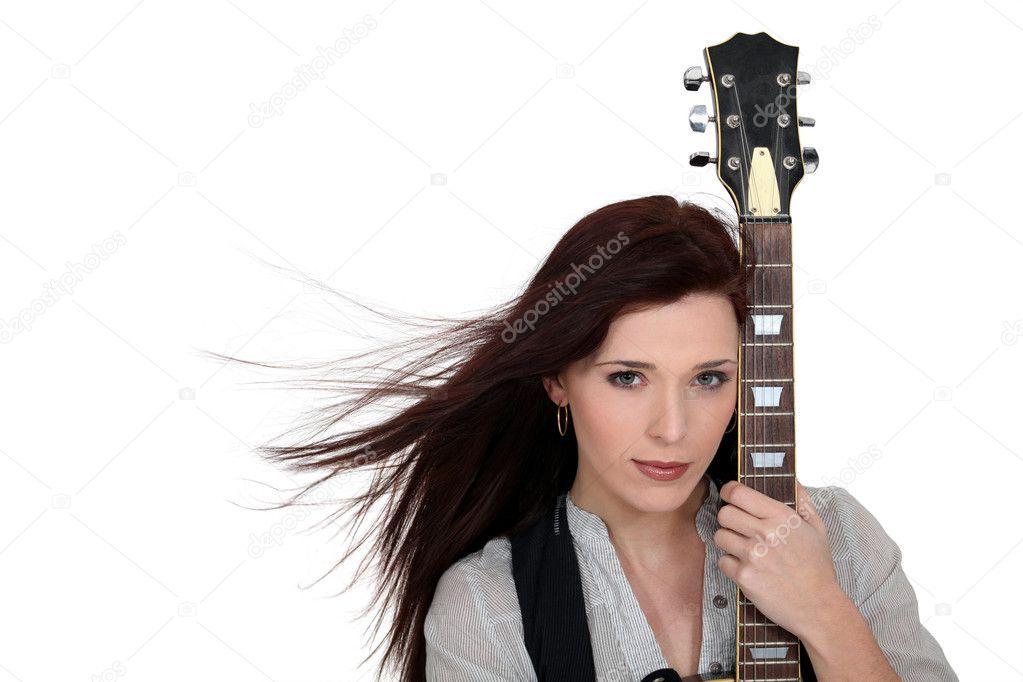 女吉他手 - 图库图片