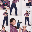 Stock Photo: Collage of a female construction worker
