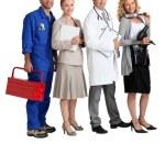 Mechanic, secretary, GP and hairdresser. — Stock Photo