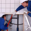 Portrait of two plumbers — Stock Photo #8392939