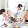 Friends having a dinner party — Foto Stock