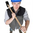 High angle view of carpenter holding hammer — Stock Photo #8394867