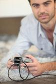 Man enjoying video game — Stock Photo
