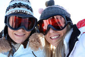 Two female friends in ski clothing — Stock Photo