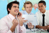 Young businessman rejoicing — Stock Photo