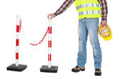 Craftsman setting a barrier — Stock Photo