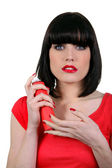 Young woman holding spraycan — Stock Photo