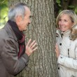 Senior couple in the park — Stockfoto