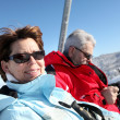 Foto Stock: Couple on ski-lift