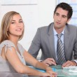 Stock Photo: A businessman and a female customer in an office.