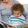 Stockfoto: Woman and child reading a book