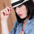 Young womwith straw hat — Stock Photo #8406788