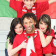 Group of friends supporting the Portuguese football team - Stock Photo