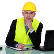Engineer working on-site — Stock Photo