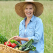 Woman with vegetable basket — Stock Photo