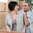 Mature couple moving house - Stock Photo