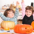 Stock Photo: Two children at Halloween party