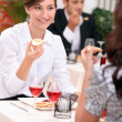 Two woman having lunch together — Stock Photo