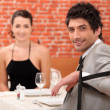 Couple sharing a romantic dinner together — Stock Photo