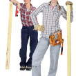 Handywomen on white background — Stock Photo