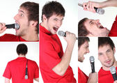 A man singing or playing with a micro — Stock Photo