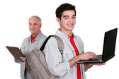 Trainee with a laptop — Stock Photo
