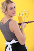 A cocktail waitress — Stock Photo