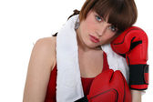 Una boxeadora — Foto de Stock