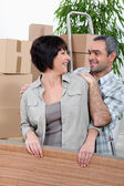 Mature couple moving house — Stock Photo