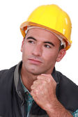 Builder holding clenched fist — Stock Photo
