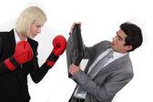 Couple d'affaires combats — Photo