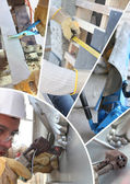 Mosaic of labourer working on a house — Stock Photo